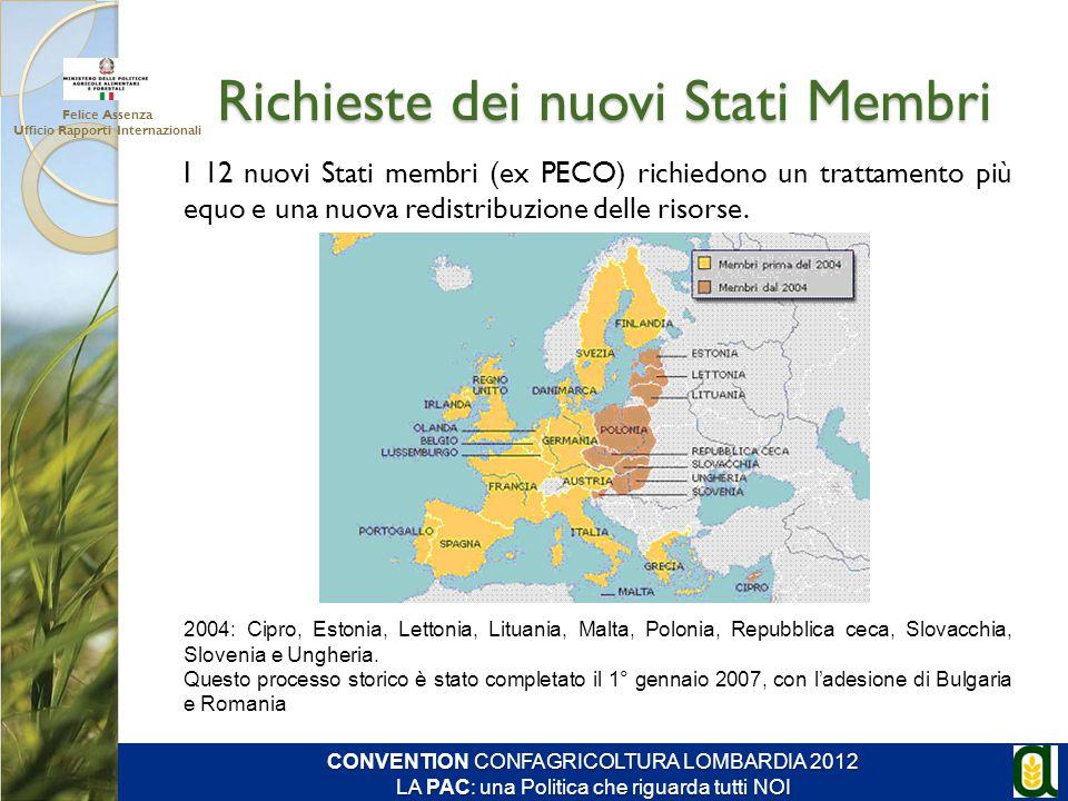 Richieste dei nuovi Stati Membri Felice Assenza Ufficio Rapporti Internazionali CONVENTION CONFAGRICOLTURA LOMBARDIA 2012 LA PAC: una Politica che rig