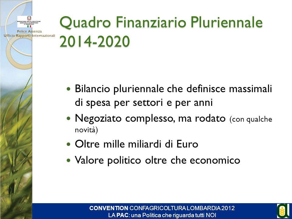 Quadro Finanziario Pluriennale 2014-2020 Bilancio pluriennale che definisce massimali di spesa per settori e per anni Negoziato complesso, ma rodato (