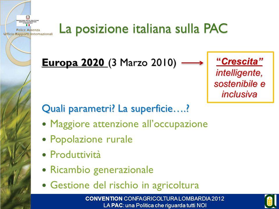 La posizione italiana sulla PAC Europa 2020 (3 Marzo 2010) Quali parametri? La superficie….? Maggiore attenzione all'occupazione Popolazione rurale Pr