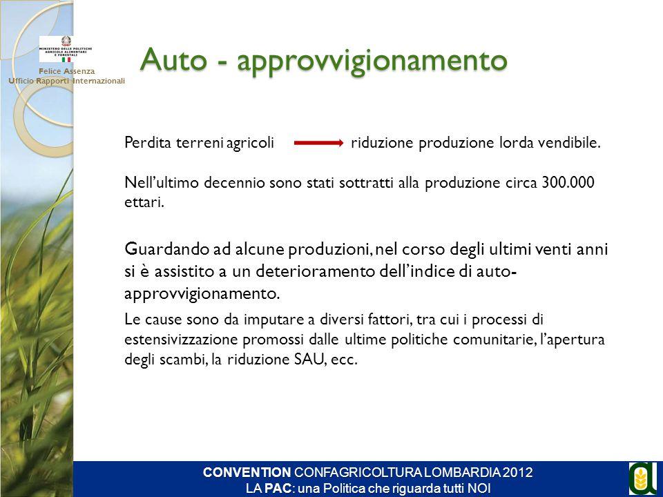 Auto - approvvigionamento Perdita terreni agricoli riduzione produzione lorda vendibile. Nell'ultimo decennio sono stati sottratti alla produzione cir