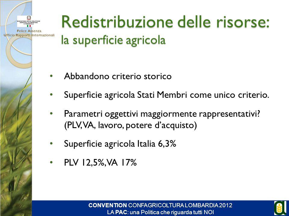 Abbandono criterio storico Superficie agricola Stati Membri come unico criterio. Parametri oggettivi maggiormente rappresentativi? (PLV, VA, lavoro, p