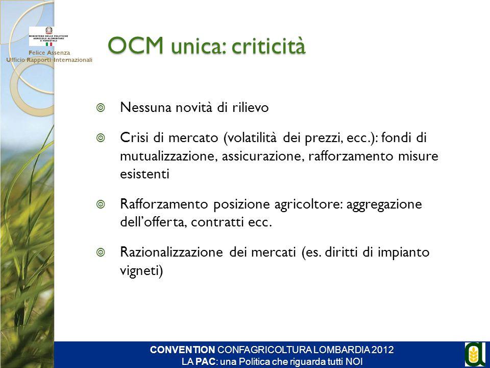 OCM unica: criticità  Nessuna novità di rilievo  Crisi di mercato (volatilità dei prezzi, ecc.): fondi di mutualizzazione, assicurazione, rafforzame