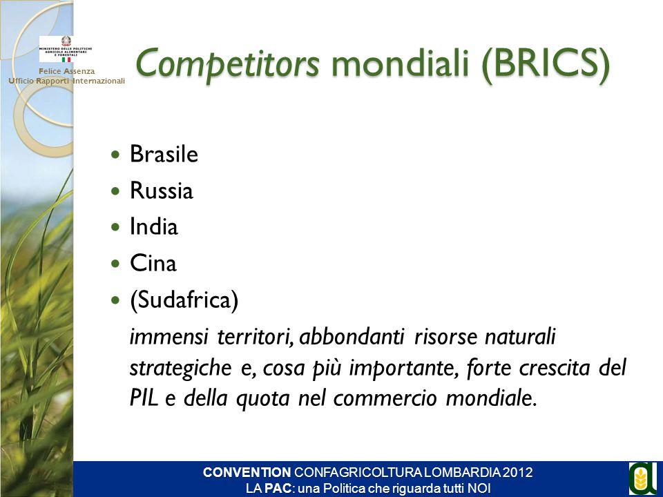 Competitors mondiali (BRICS) Felice Assenza Ufficio Rapporti Internazionali CONVENTION CONFAGRICOLTURA LOMBARDIA 2012 LA PAC: una Politica che riguard