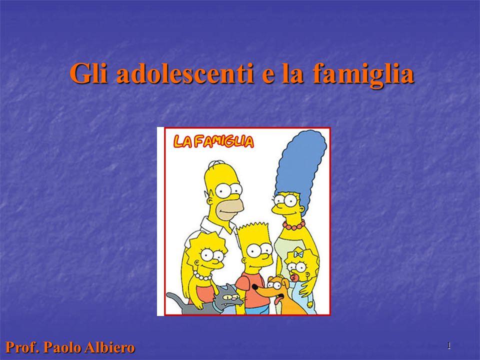1 Gli adolescenti e la famiglia Prof. Paolo Albiero