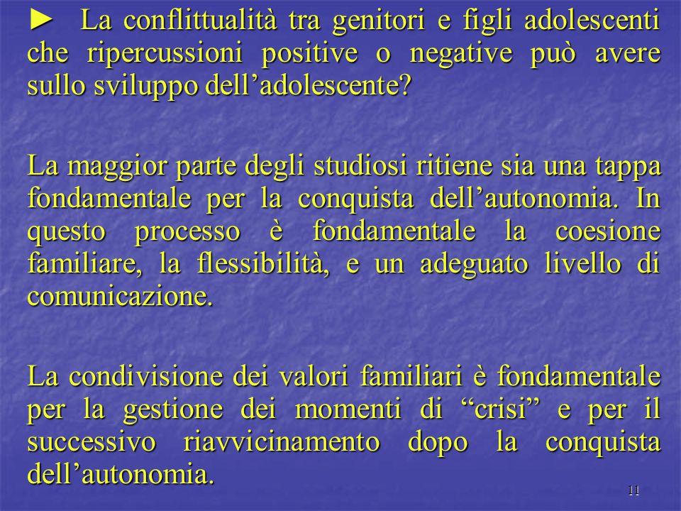 11 ► La conflittualità tra genitori e figli adolescenti che ripercussioni positive o negative può avere sullo sviluppo dell'adolescente? La maggior pa