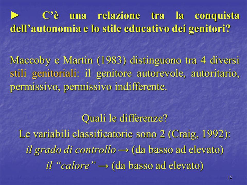 12 ► C'è una relazione tra la conquista dell'autonomia e lo stile educativo dei genitori? Maccoby e Martin (1983) distinguono tra 4 diversi stili geni