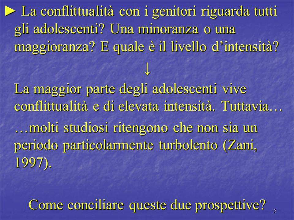 3 ► La conflittualità con i genitori riguarda tutti gli adolescenti? Una minoranza o una maggioranza? E quale è il livello d'intensità? ↓ La maggior p