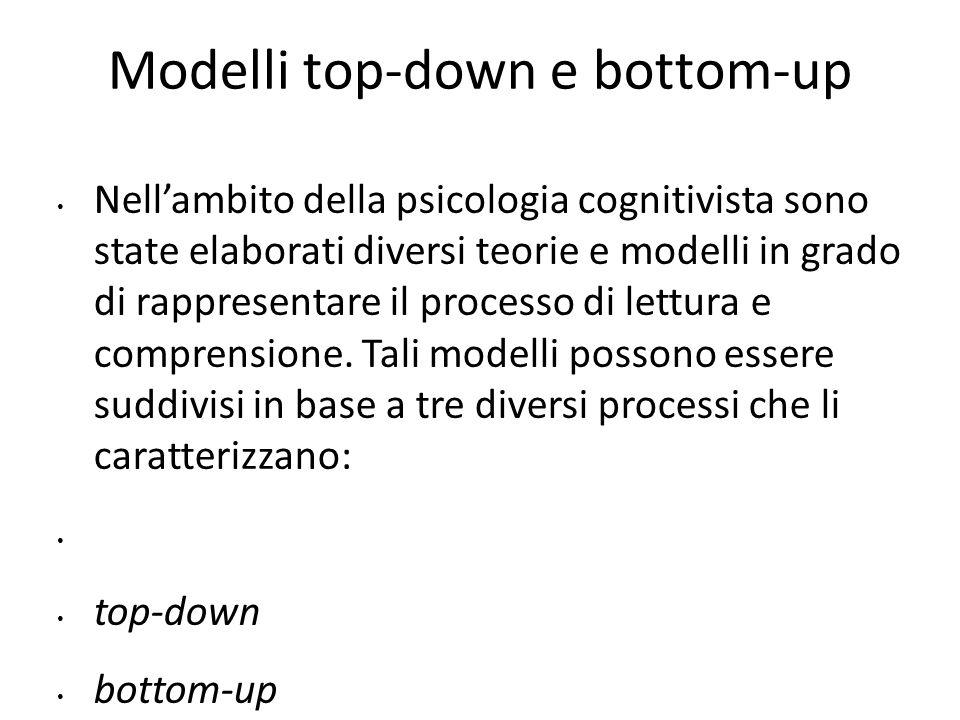 Modelli top-down e bottom-up Nell'ambito della psicologia cognitivista sono state elaborati diversi teorie e modelli in grado di rappresentare il proc