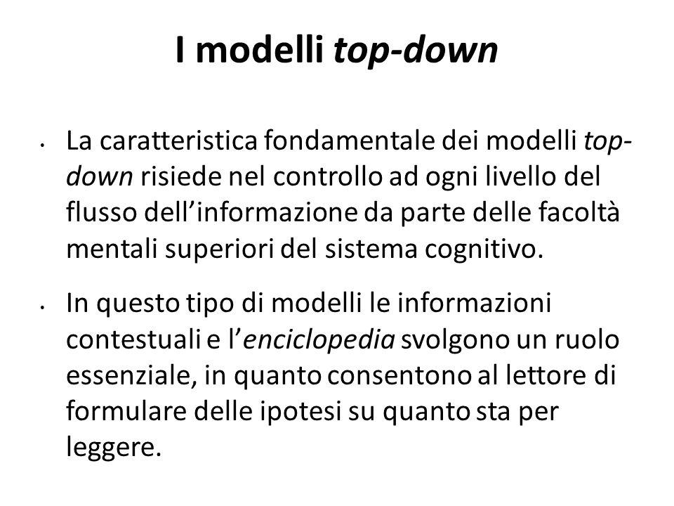 I modelli top-down La caratteristica fondamentale dei modelli top- down risiede nel controllo ad ogni livello del flusso dell'informazione da parte de