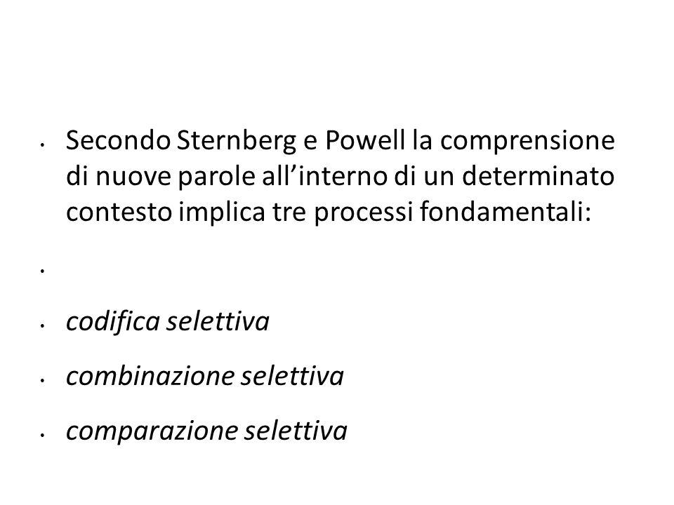 Secondo Sternberg e Powell la comprensione di nuove parole all'interno di un determinato contesto implica tre processi fondamentali: codifica selettiv