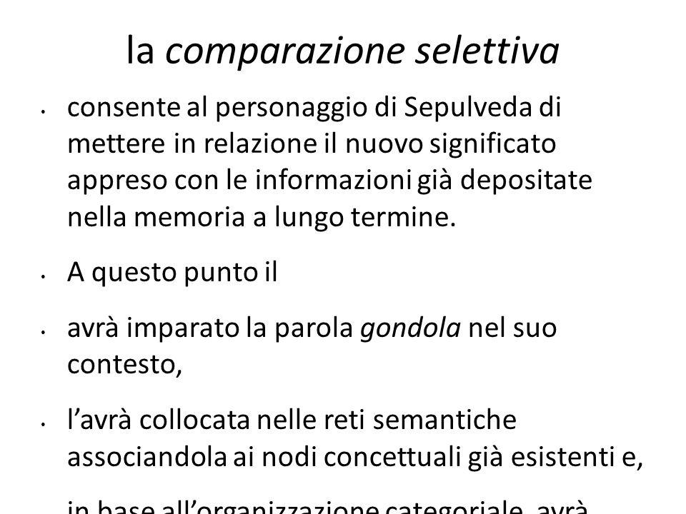 la comparazione selettiva consente al personaggio di Sepulveda di mettere in relazione il nuovo significato appreso con le informazioni già depositate
