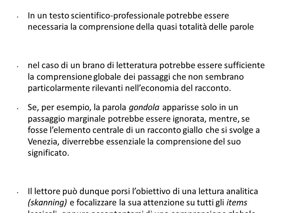 In un testo scientifico-professionale potrebbe essere necessaria la comprensione della quasi totalità delle parole nel caso di un brano di letteratura