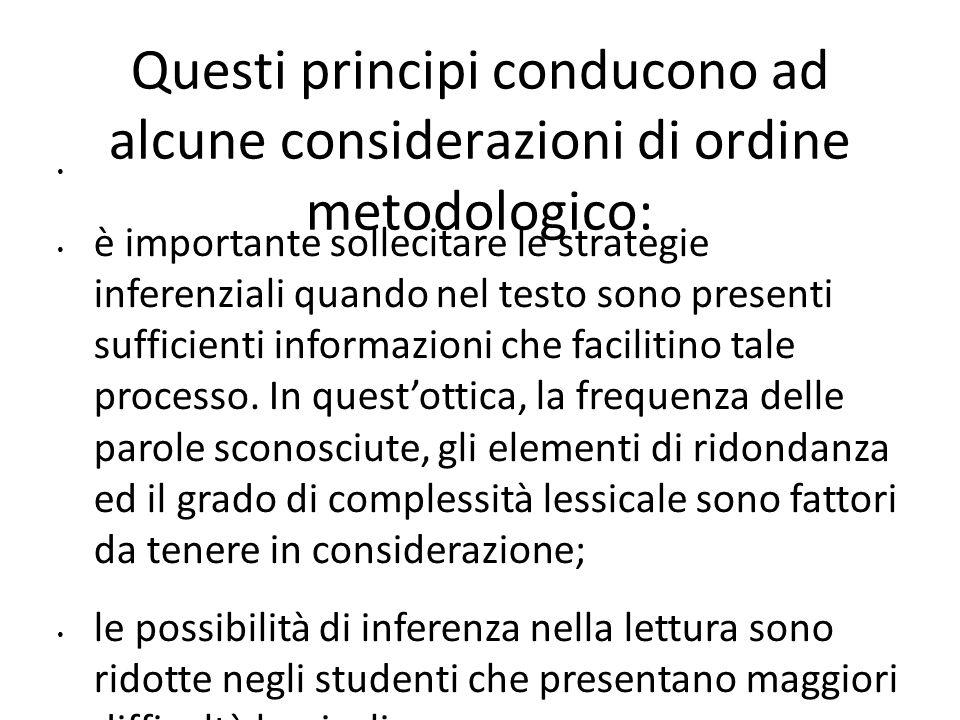 Questi principi conducono ad alcune considerazioni di ordine metodologico: è importante sollecitare le strategie inferenziali quando nel testo sono pr