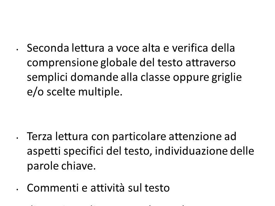 Seconda lettura a voce alta e verifica della comprensione globale del testo attraverso semplici domande alla classe oppure griglie e/o scelte multiple