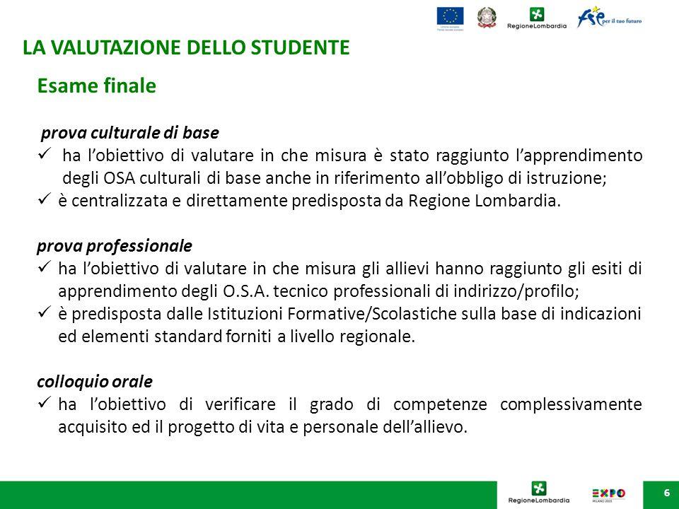 6 Esame finale prova culturale di base ha l'obiettivo di valutare in che misura è stato raggiunto l'apprendimento degli OSA culturali di base anche in