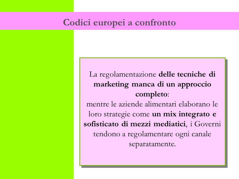 Codici europei a confronto La regolamentazione delle tecniche di marketing manca di un approccio completo: mentre le aziende alimentari elaborano le loro strategie come un mix integrato e sofisticato di mezzi mediatici, i Governi tendono a regolamentare ogni canale separatamente.