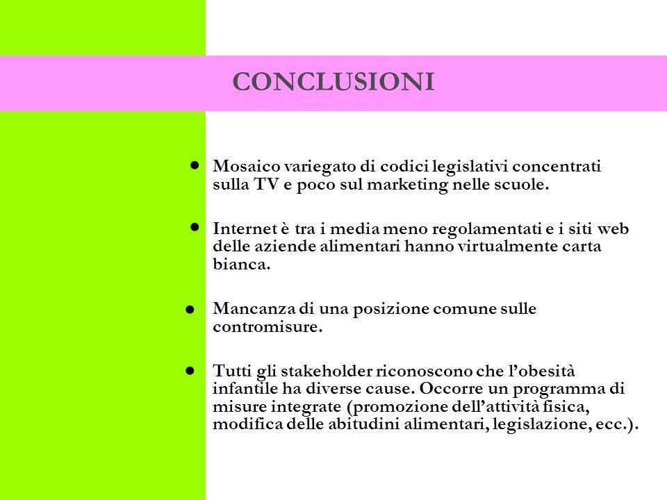 Mosaico variegato di codici legislativi concentrati sulla TV e poco sul marketing nelle scuole. Internet è tra i media meno regolamentati e i siti web