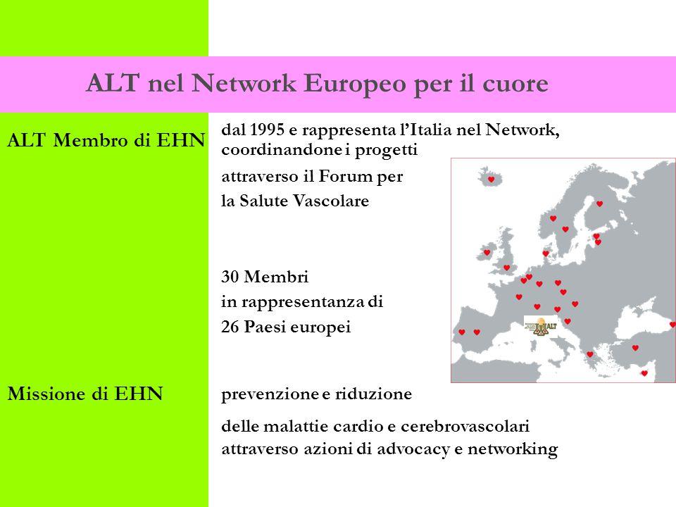 dal 1995 e rappresenta l'Italia nel Network, coordinandone i progetti attraverso il Forum per la Salute Vascolare 30 Membri in rappresentanza di 26 Paesi europei prevenzione e riduzione delle malattie cardio e cerebrovascolari attraverso azioni di advocacy e networking ALT nel Network Europeo per il cuore ALT Membro di EHN Missione di EHN