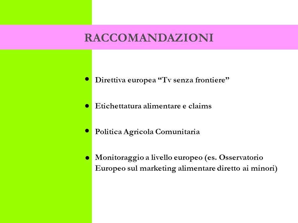 Direttiva europea Tv senza frontiere Etichettatura alimentare e claims Politica Agricola Comunitaria Monitoraggio a livello europeo (es.
