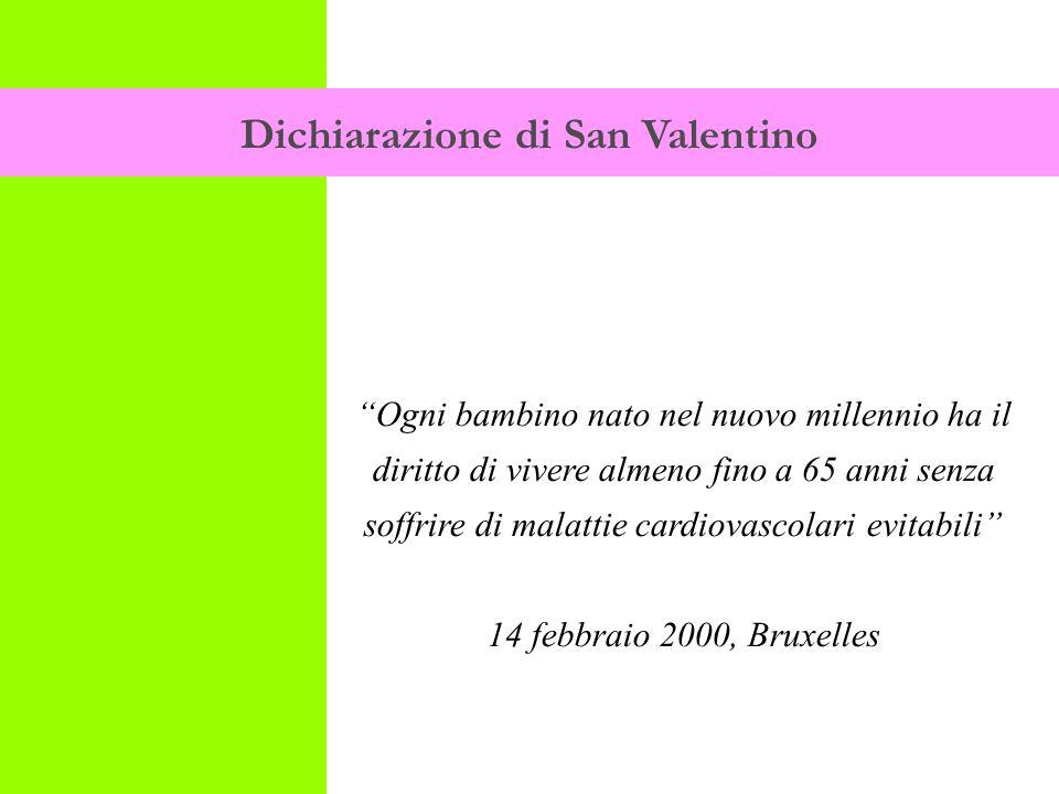 Dichiarazione di San Valentino Ogni bambino nato nel nuovo millennio ha il diritto di vivere almeno fino a 65 anni senza soffrire di malattie cardiovascolari evitabili 14 febbraio 2000, Bruxelles