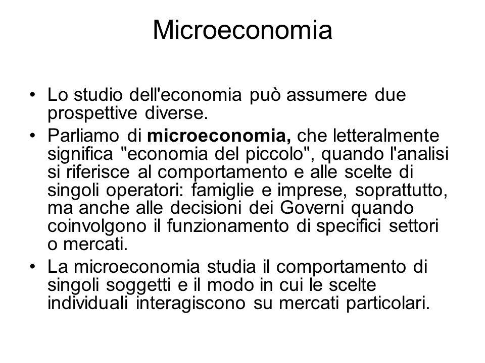 Microeconomia Lo studio dell'economia può assumere due prospettive diverse. Parliamo di microeconomia, che letteralmente significa