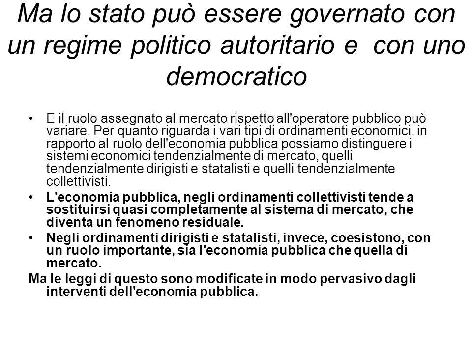 Ma lo stato può essere governato con un regime politico autoritario e con uno democratico E il ruolo assegnato al mercato rispetto all operatore pubblico può variare.
