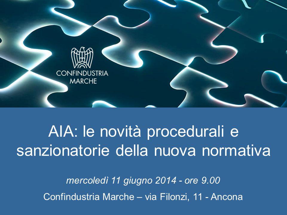 mercoledì 11 giugno 2014 - ore 9.00 Confindustria Marche – via Filonzi, 11 - Ancona AIA: le novità procedurali e sanzionatorie della nuova normativa