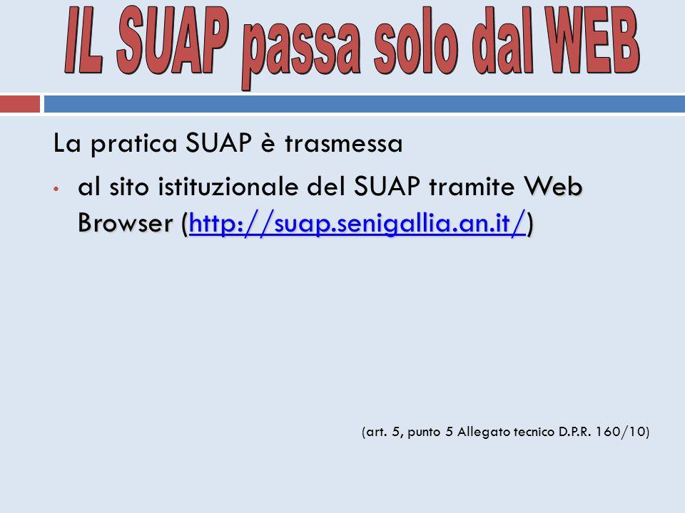 La pratica SUAP è trasmessa Web Browser (http://suap.senigallia.an.it/) al sito istituzionale del SUAP tramite Web Browser (http://suap.senigallia.an.