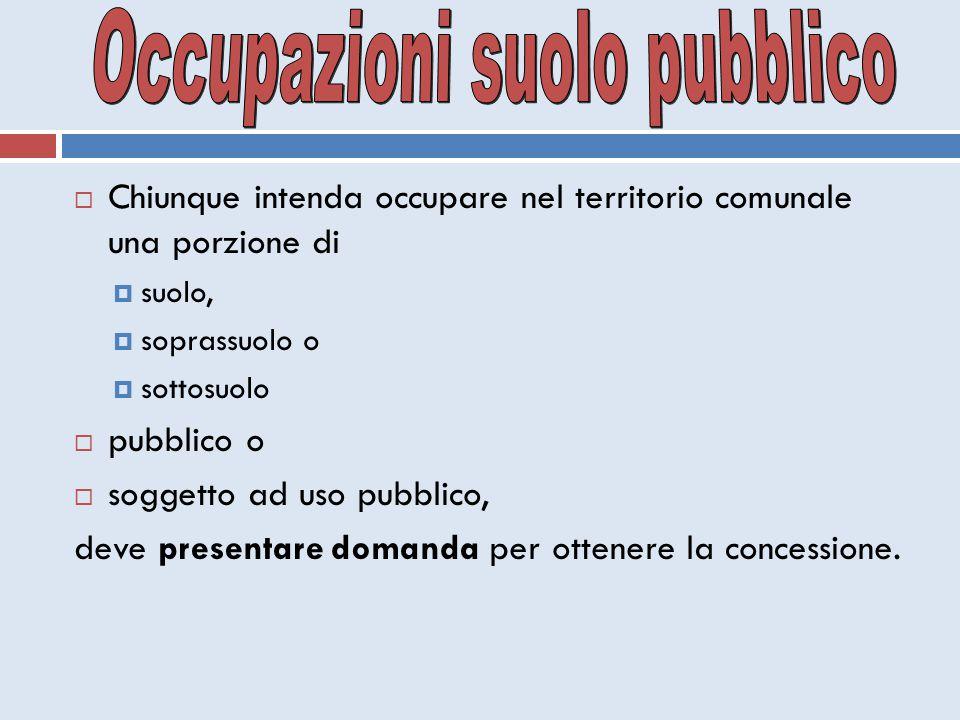  Chiunque intenda occupare nel territorio comunale una porzione di  suolo,  soprassuolo o  sottosuolo  pubblico o  soggetto ad uso pubblico, dev