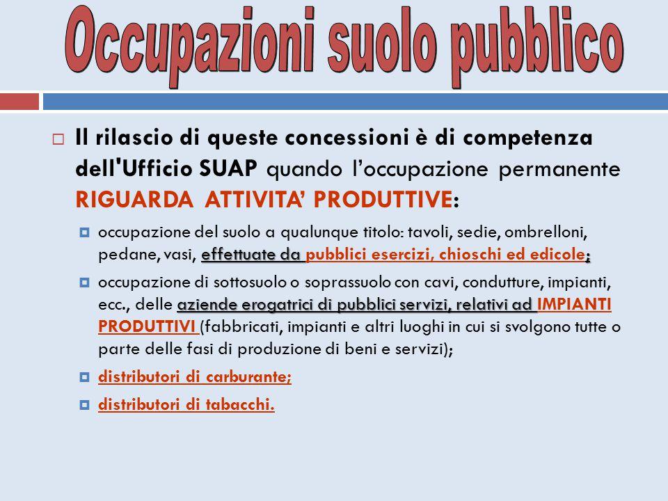  Il rilascio di queste concessioni è di competenza dell'Ufficio SUAP quando l'occupazione permanente RIGUARDA ATTIVITA' PRODUTTIVE: effettuate da ; 