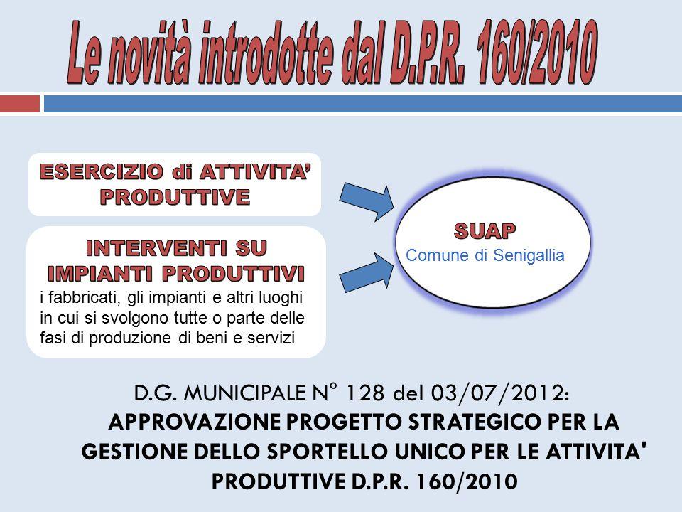 D.G. MUNICIPALE N° 128 del 03/07/2012: APPROVAZIONE PROGETTO STRATEGICO PER LA GESTIONE DELLO SPORTELLO UNICO PER LE ATTIVITA' PRODUTTIVE D.P.R. 160/2