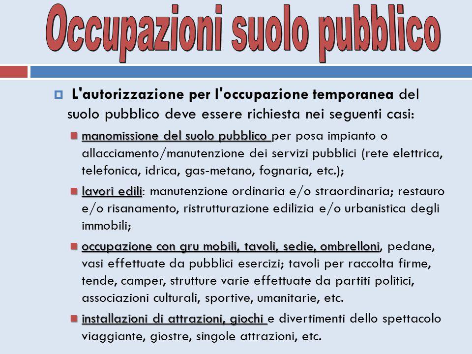  L'autorizzazione per l'occupazione temporanea del suolo pubblico deve essere richiesta nei seguenti casi: manomissione del suolo pubblico manomissio