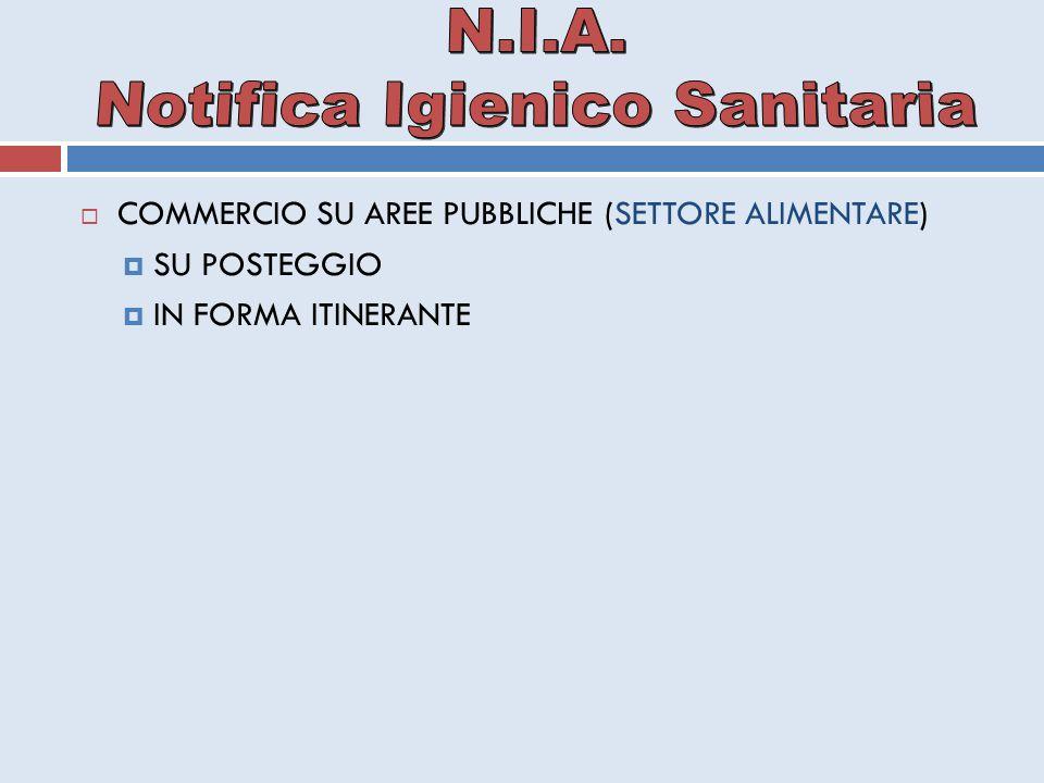  COMMERCIO SU AREE PUBBLICHE (SETTORE ALIMENTARE)  SU POSTEGGIO  IN FORMA ITINERANTE