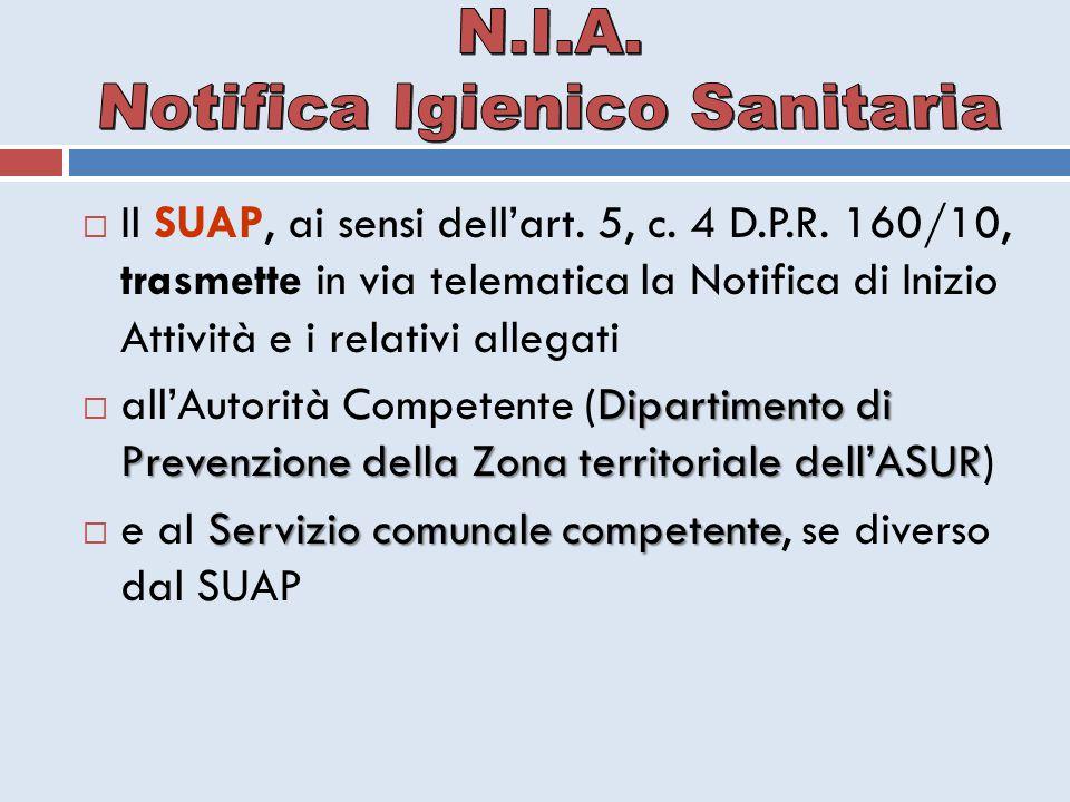  Il SUAP, ai sensi dell'art. 5, c. 4 D.P.R. 160/10, trasmette in via telematica la Notifica di Inizio Attività e i relativi allegati Dipartimento di