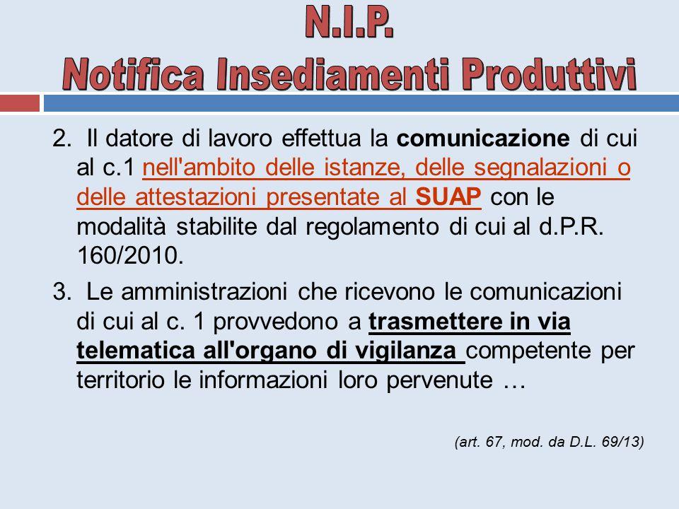 2. Il datore di lavoro effettua la comunicazione di cui al c.1 nell'ambito delle istanze, delle segnalazioni o delle attestazioni presentate al SUAP c