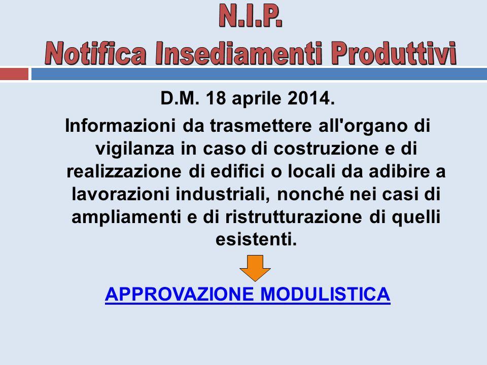 D.M. 18 aprile 2014. Informazioni da trasmettere all'organo di vigilanza in caso di costruzione e di realizzazione di edifici o locali da adibire a la