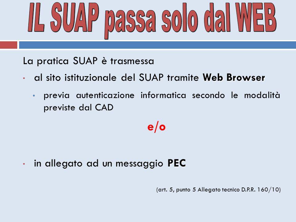 La pratica SUAP è trasmessa Web Browser al sito istituzionale del SUAP tramite Web Browser previa autenticazione informatica secondo le modalità previ