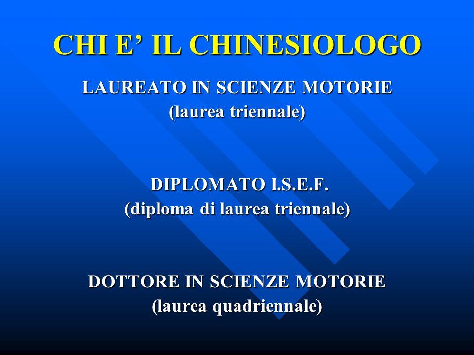 CHI E' IL CHINESIOLOGO LAUREATO IN SCIENZE MOTORIE (laurea triennale) DIPLOMATO I.S.E.F.