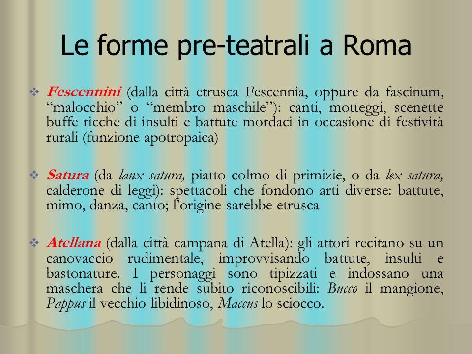 """Le forme pre-teatrali a Roma   Fescennini (dalla città etrusca Fescennia, oppure da fascinum, """"malocchio"""" o """"membro maschile""""): canti, motteggi, sce"""