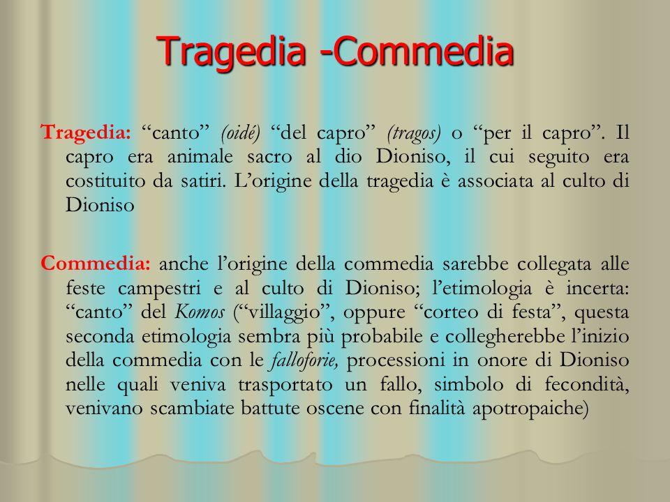 """Tragedia -Commedia Tragedia: """"canto"""" (oidé) """"del capro"""" (tragos) o """"per il capro"""". Il capro era animale sacro al dio Dioniso, il cui seguito era costi"""