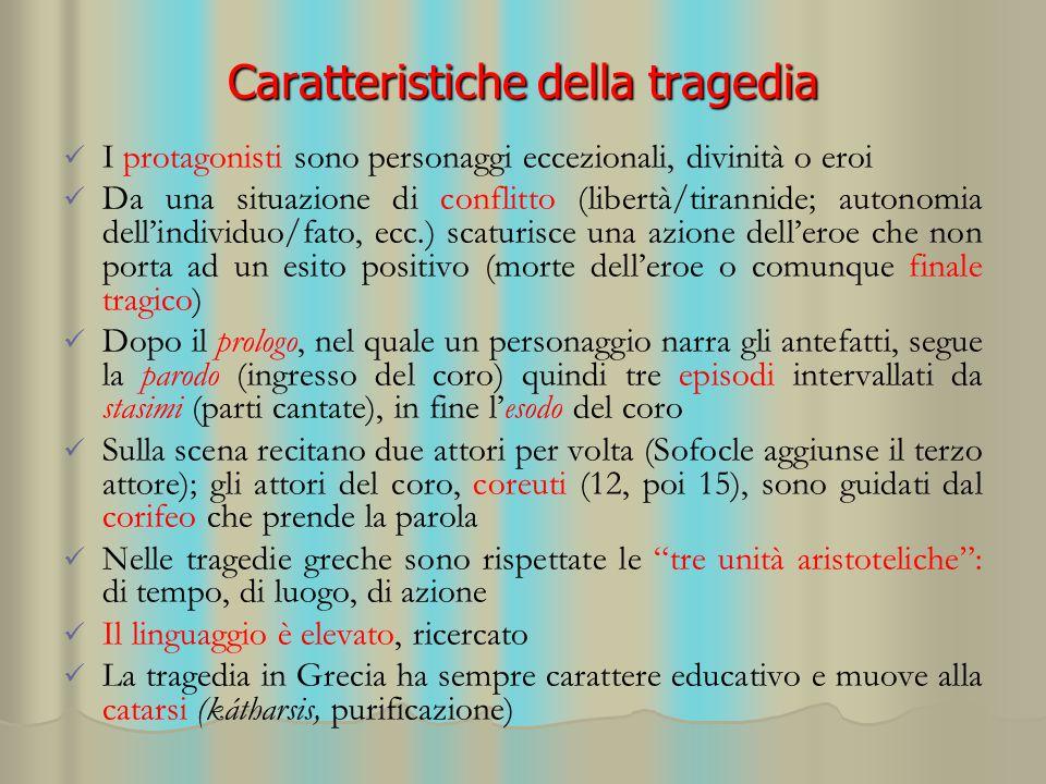 Caratteristiche della tragedia I protagonisti sono personaggi eccezionali, divinità o eroi Da una situazione di conflitto (libertà/tirannide; autonomi