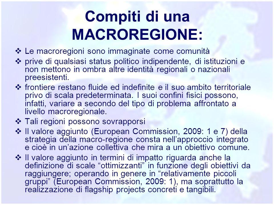Compiti di una MACROREGIONE:  Le macroregioni sono immaginate come comunità  prive di qualsiasi status politico indipendente, di istituzioni e non m
