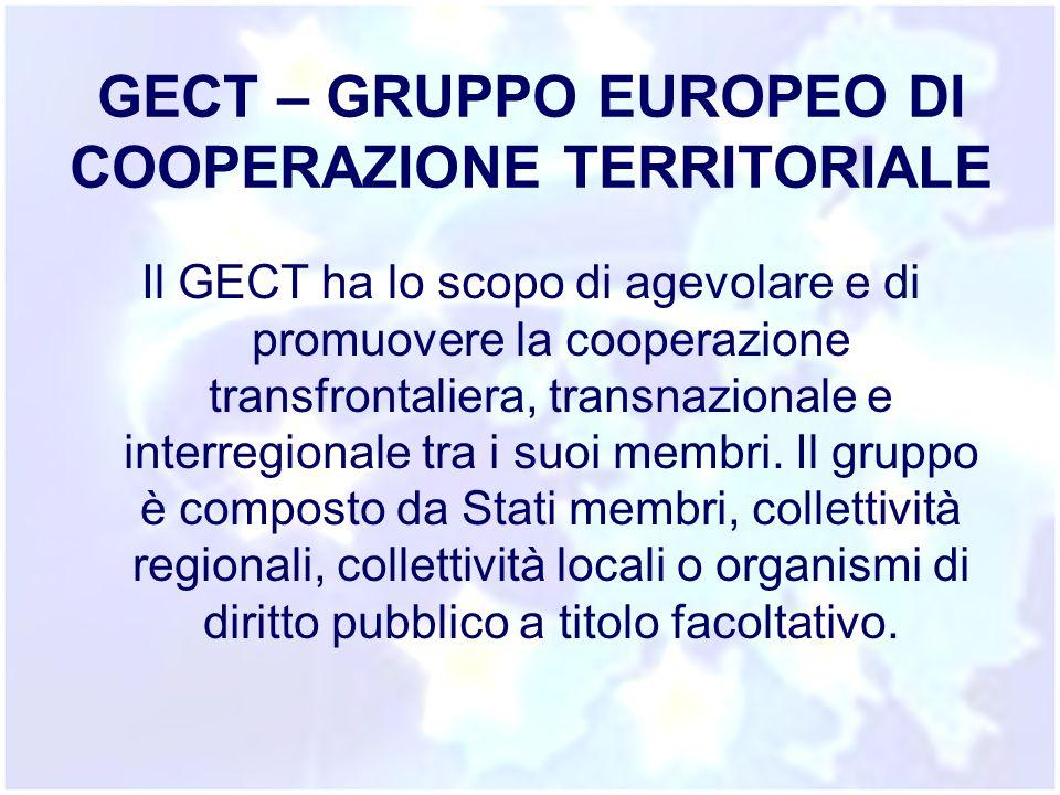 GECT – GRUPPO EUROPEO DI COOPERAZIONE TERRITORIALE Il GECT ha lo scopo di agevolare e di promuovere la cooperazione transfrontaliera, transnazionale e