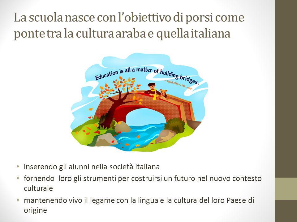 La scuola nasce con l'obiettivo di porsi come ponte tra la cultura araba e quella italiana inserendo gli alunni nella società italiana fornendo loro gli strumenti per costruirsi un futuro nel nuovo contesto culturale mantenendo vivo il legame con la lingua e la cultura del loro Paese di origine