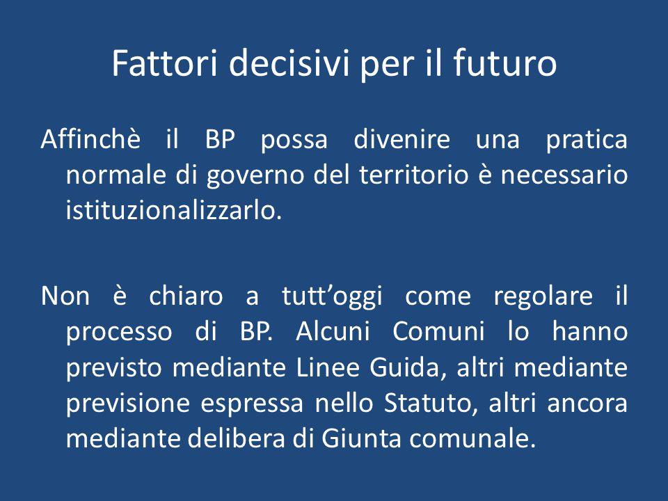 Fattori decisivi per il futuro Affinchè il BP possa divenire una pratica normale di governo del territorio è necessario istituzionalizzarlo.