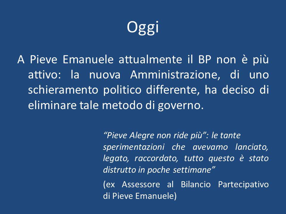 Oggi A Pieve Emanuele attualmente il BP non è più attivo: la nuova Amministrazione, di uno schieramento politico differente, ha deciso di eliminare tale metodo di governo.