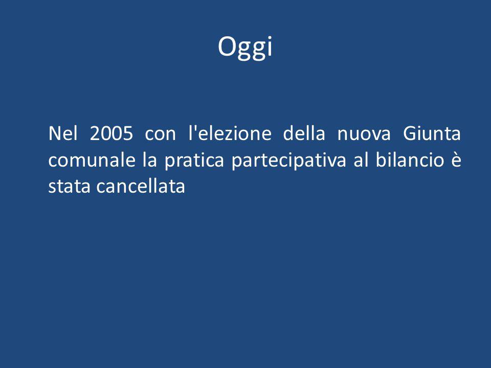 Oggi Nel 2005 con l elezione della nuova Giunta comunale la pratica partecipativa al bilancio è stata cancellata
