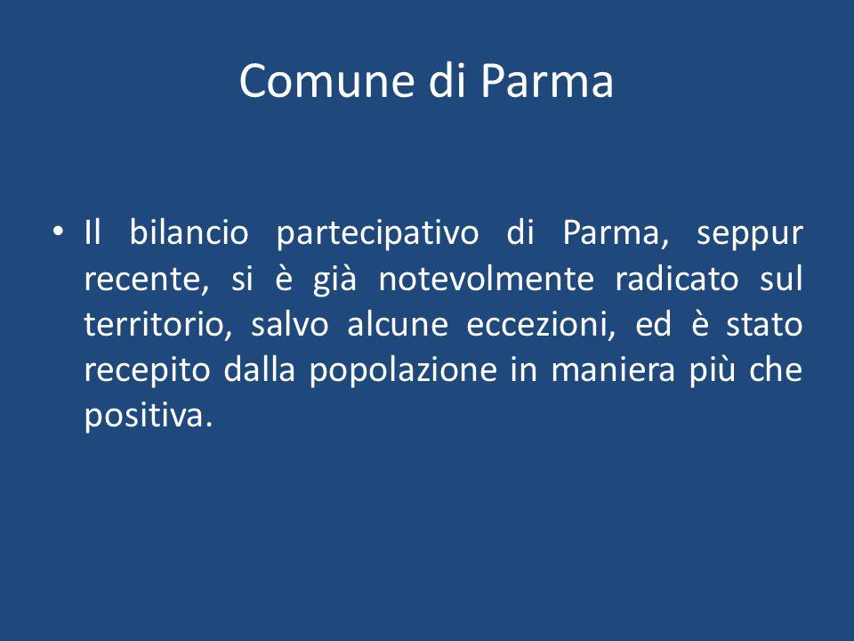 Comune di Parma Il bilancio partecipativo di Parma, seppur recente, si è già notevolmente radicato sul territorio, salvo alcune eccezioni, ed è stato recepito dalla popolazione in maniera più che positiva.