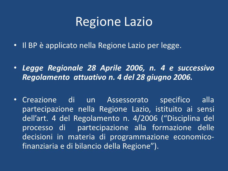 Regione Lazio Il BP è applicato nella Regione Lazio per legge.