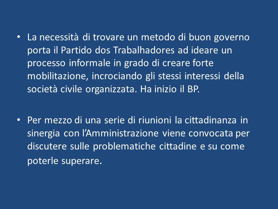 La necessità di trovare un metodo di buon governo porta il Partido dos Trabalhadores ad ideare un processo informale in grado di creare forte mobilitazione, incrociando gli stessi interessi della società civile organizzata.